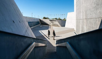 Visitors in Canada's recently opened Holocaust memorial on October 7, 2017.