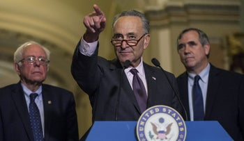Senate Minority Leader Chuck Schumer, a Democrat from New York, takes a question during a news conference in Washington, D.C., on October 3, 2017.