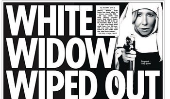 Front page of The Sun reporting on the death of Sally Jones, an ISIS terrorist named the 'White Widow'