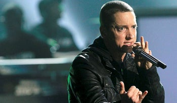 FILE PHOTO: Rapper Eminem performs 'Not Afraid' at the 2010 BET Awards in Los Angeles June 27, 2010.