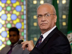 Saeb Erekat speaks during a press conference in Cairo, Egypt, August 11, 2014.