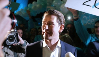 Chairman of the Austrian People's Party (OeVP) Sebastian Kurz arrives before a TV debate on October 12, 2017 in Vienna ahead of Austrian Parliamentary elections on October 15.