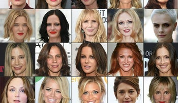This combination of pictures created on October 14, 2017 shows the faces of many of the actresses accusing Harvey Weinstein of sexual harrasment
