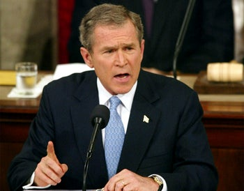 "Jan. 29. 2002, President Bush labels North Korea, Iran and Iraq an ""axis of evil"" in Washington DC."