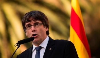 Catalan regional government president Carles Puigdemont in Barcelona on October 15, 2017.