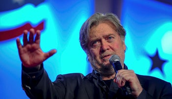 Former White House Chief Strategist Steve Bannon delivers remarks during the Value Voters Summit at the Omni Shoreham Hotel in Washington, U.S., October 14, 2017