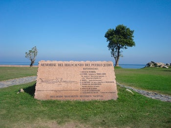 The Holocaust Memorial in Montevideo, Uruguay, which was vandalized by graffiti minimizing the Shoah in October 2017.
