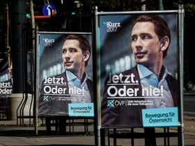 "An election campaign posters of Austrian People's Party (OeVP) top candidate and Foreign Minister Sebastian Kurz are seen in Vienna, Austria, October 5, 2017. Posters read ""Now or never!"" and ""Movement for Austria""."
