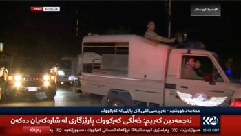 A still picture taken from a video shows vehicles driving in Kirkuk, Iraq on October 16, 2017.