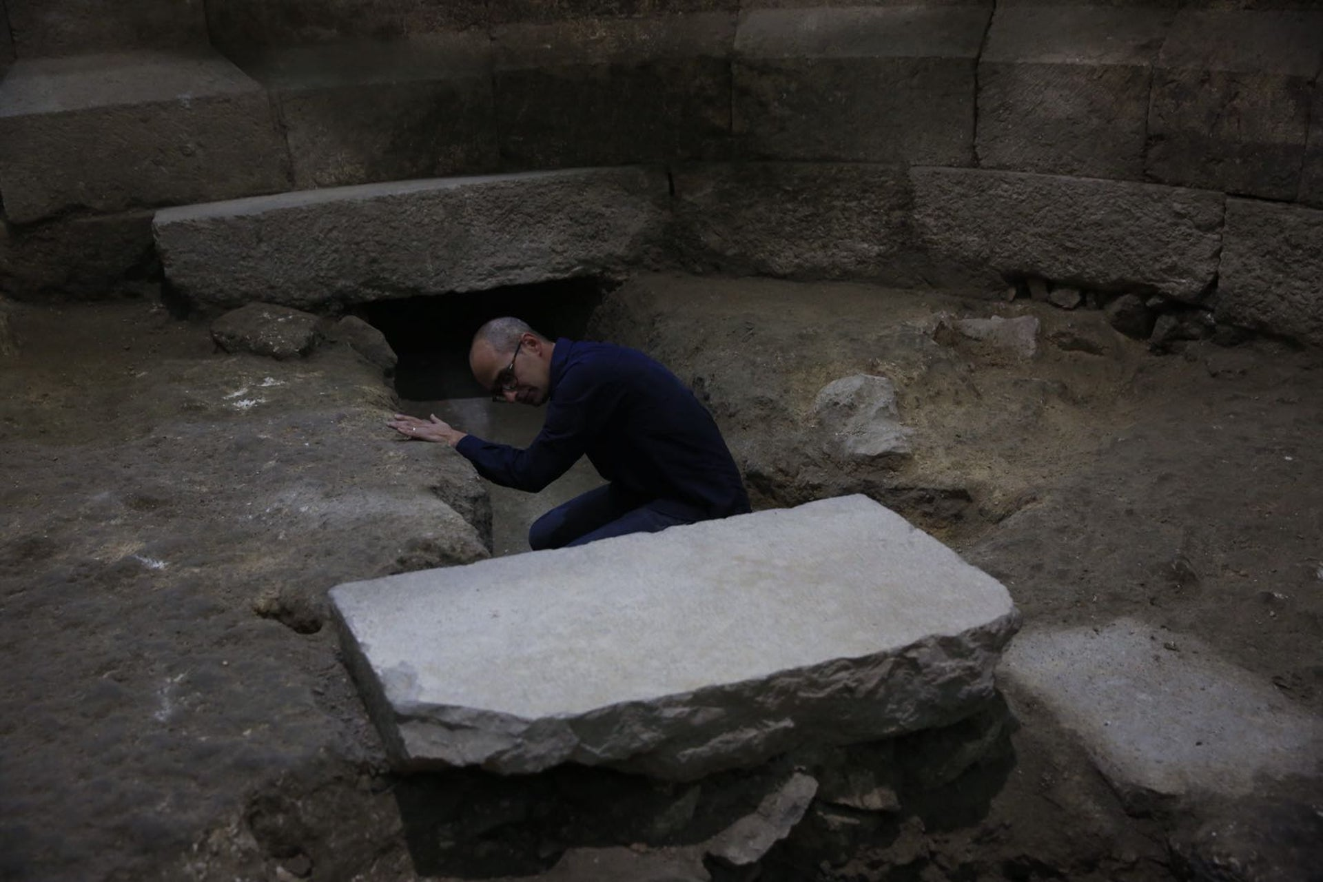 Israel's Antiquities Authority's Dr. Joe Uziel works in an ancient Roman theater in Jerusalem's old city, October 16, 2017.