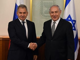Prime Minister Benjamin Netanyahu meeting with Russian Defense Minister Sergey Shoygu in Jerusalem. October 17, 2017