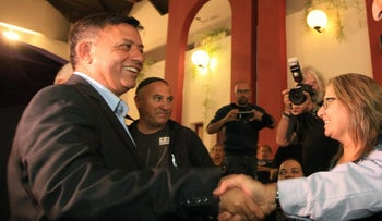Labor party leader Avi Gabbay meets with constituents in the southern Israeli city of Dimona on October 15, 2017