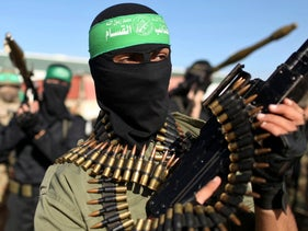 Palestinian members of the al-Qassam brigades, the armed wing of the Hamas movement in the Gaza Strip, December 7, 2012