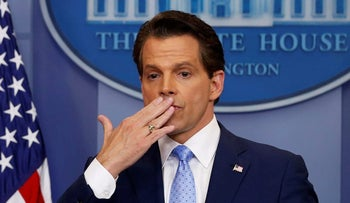 Then-White house Communications Director Anthony Scaramucci blows a kiss to reporters after addressing the daily briefing at the White House in Washington, July 21, 2017.