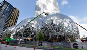 Building domes in Seattle, an expansion of the Amazon compound in Seattle.