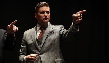 White nationalist Richard Spencer on stage at the University of Florida, August 19, 2017.