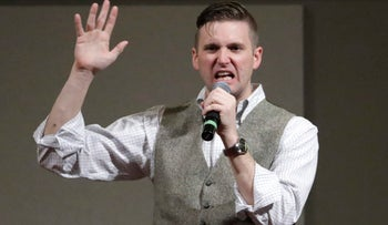 Richard Spencer. who leads a movement that mixes racism, white nationalism and populism, speaking at the Texas A&M University campus in College Station, Texas. 2016-12-07.