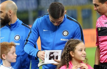 Inter's captain Mauro Icardi signs  Anne Frank's Diary in Milan, Italy. The diary will be read aloud at all soccer matches in Italy this week, after displays of anti-Semitism by fans of the Rome club Lazio. The Oct. 24, 2017.