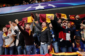 AS Roma fans before a match, October 18, 2017.