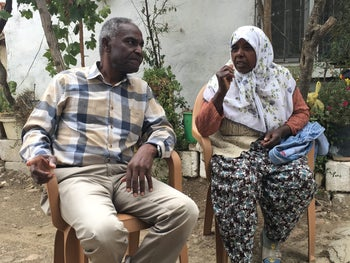 Sakir Doguluer, left, leader of the Africans' Culture and Solidarity Society, with a member of the Afro-Turk community, Haskoy, Turkey, October 2017.