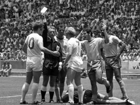 Israeli referee Abraham Klein, second left, during the World Cup in Guadalajara, Mexico June 7, 1970