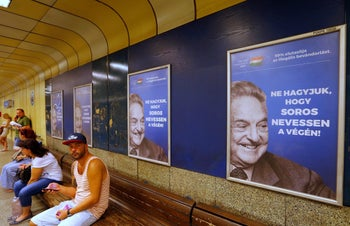 "File photo: Hungarian government poster portraying financier George Soros and saying ""Don't let George Soros have the last laugh"" is seen at an underground stop in Budapest, Hungary July 11, 2017."