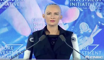 Interview With The Lifelike Hot Robot Named Sophia (Full)   CNBC