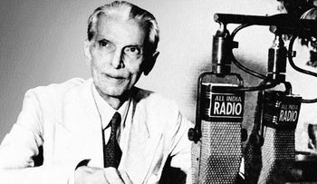 Muhammad Ali Jinnah, who considered himself sole spokesman of imperial India's Muslims, denounced British policy in Palestine and advised Arab negotiators behind the scenes. Here he announces the creation of Pakistan over All India Radio, June 3, 1947