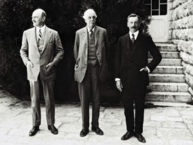 This handout file photograph taken in 1925 and obtained from the Israeli Government Press Office (GPO) on October 24, 2017, shows (L/R): British General Edmund Allenby, former British Prime Minister Arthur Balfour, First High Commissioner of Palestine Herbert Samuel, posing for a picture in Jerusalem.