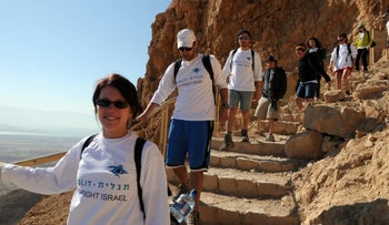 Birthright participants hike down a mountain on their trip.