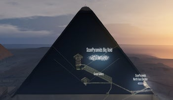 "Scientists have found, but not yet examined, a mysterious, Boeing-sized ""void"" in the Great Pyramid of Egypt -- a fourth cavity besides the already-known king and queen's ""chambers"" and Grand Gallery, they announced on November 2, 2017."