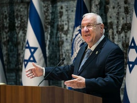 President Reuven Rivlin addresses the audience during a ceremony at the President's Residence in Jerusalem, Israel, October 30, 2017.