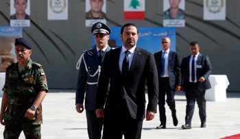 Lebanese Prime Minister Saad Hariri arrives for a mass funeral of 10 Lebanese soldiers abducted in 2014 and killed by ISIS, in Yarzeh near Beirut, Lebanon, Sept. 8, 2017.
