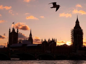 The Houses of Parliament from the south bank of the River Thames, London. November 5, 2017