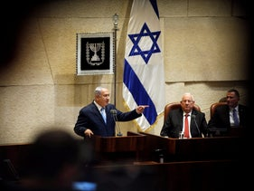 FILE PHOTO- Prime Minister Benjamin Netanyahu speaks at the opening of the winter session of the Knesset, the Israeli parliament, in Jerusalem October 23, 2017.