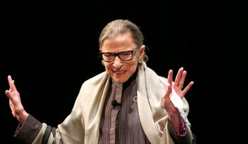 U.S. Supreme Court Justice Ruth Bader Ginsburg acknowledges the crowd's applause before participating in a conversation with Judge Ann Claire Williams of the U.S. Court of Appeals for the Seventh Circuit at Roosevelt University Monday, Sept. 11, 2017, in Chicago.