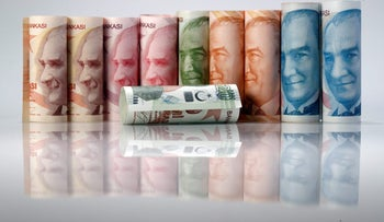 Turkish Lira banknotes are seen in this October 10, 2017 picture illustration.