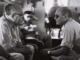 Then-Prime Minister Levi Eshkol and Defense Minister Moshe Dayan onboard a helicopter while touring army installations in the West Bank, September 1967.