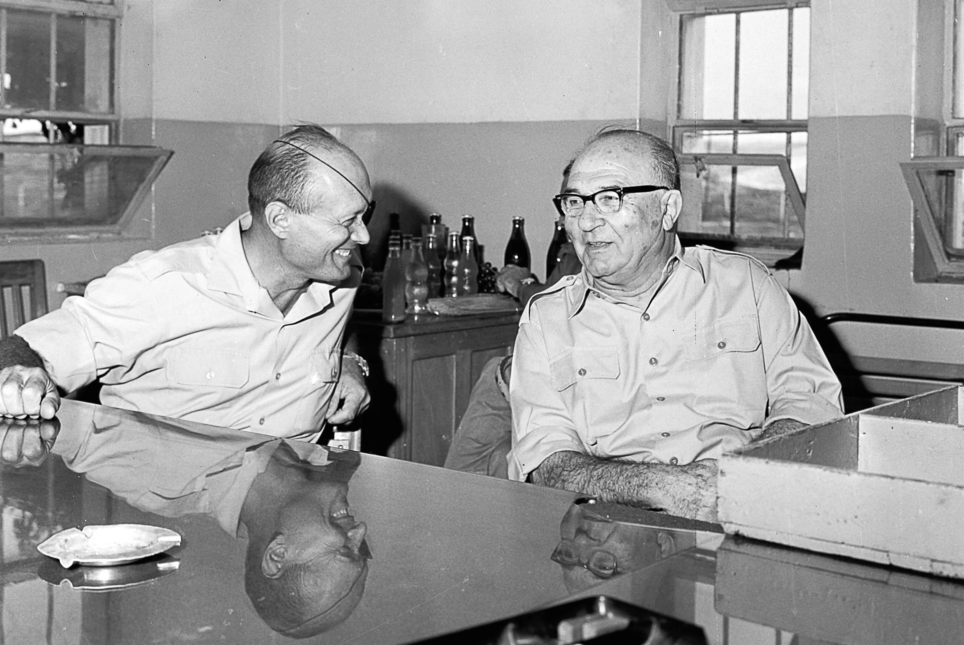 Prime Minister Levi Eshkol and Defense Minister Moshe Dayan during their visit to army installations on the West Bank, September 20, 1967.