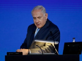 FILE PHOTO: Israeli Prime Minister Benjamin Netanyahu gives an address at the London Stock Exchange in the City of London, Friday, Nov. 3, 2017.