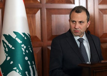Lebanon's Foreign Minister Gebran Bassil looks on as he addresses a joint press conference with his Turkish counterpart Mevlut Cavusoglu following their meeting in Ankara on November 16, 2017.