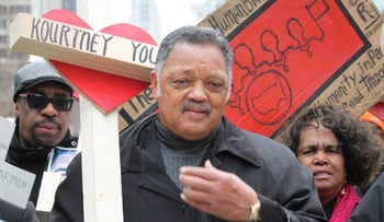 File photo: Reverend Jesse Jackson leading a march to protest the 57 percent increase in gun violence on Chicago streets on December 31, 2016.