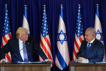 U.S. President Donald Trump and Prime Minister Benjamin Netanyahu at a press conference after their meeting in Israel on October 29, 2017.