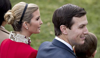 Jared Kushner and Ivanka Trump attend a ceremony in the Rose Garden of the White House to pardon the National Thanksgiving Turkey, Washington, D.C., U.S., November 21, 2017.
