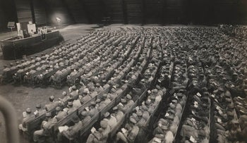 FILE PHOTO: Servicemen of the 20th U.S. Air Force stationed in Guam during World War II participate in a Rosh Hashanah service circa 1945.