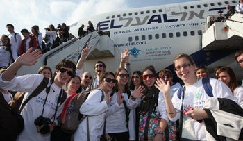 FILE PHOTO: Birthright participants arriving in Israel for the start of a 10-day trip.
