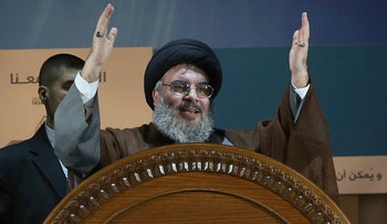 File photo: Hezbollah leader Hassan Nasrallah gestures during a rally in a southern suburb of Beirut, Lebanon, 2013.