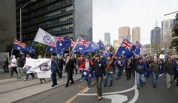Far-right groups organized a march in Melbourne, June 25, 2017. (Darrian Traynor/Getty Images)