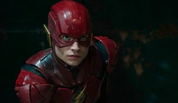 """Actor Ezra Miller as The Flash in the newly released superhero film """"Justice League,"""" November, 2017."""