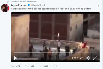 """Trump retweets far-right British leader's video: """"Islamist mob pushes teenage boy off roof and beats him to death!"""""""